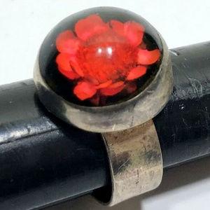 encased red flower 925 sterling silver ring 9